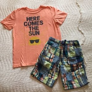 GAP Kids Size 8 Tee Shirt Gymboree 7 Plaid Shorts